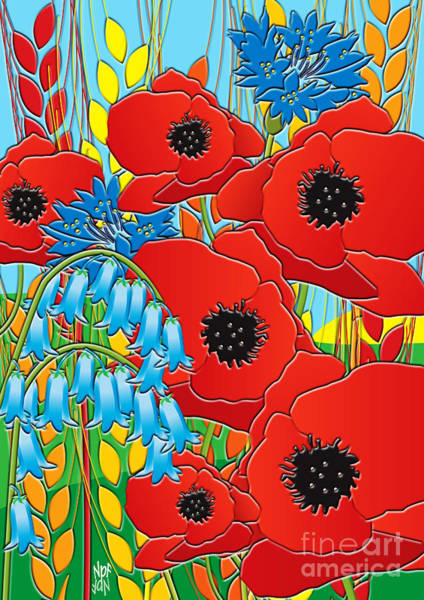 Barley Painting - Cornflower Poppies Bluebells by Neil Finnemore
