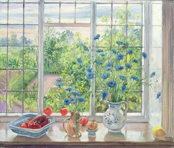 Blue Cornflower Painting - Cornflowers And Kitchen Garden by Timothy Easton