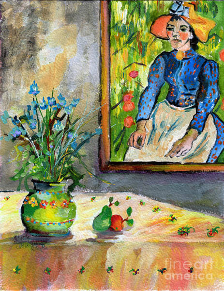 Painting - Cornflowers In French Pottery And Van Gogh Painting On Wall by Ginette Callaway