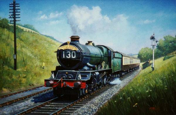 Vintage Train Painting - Cornish Riviera To Paddington. by Mike Jeffries