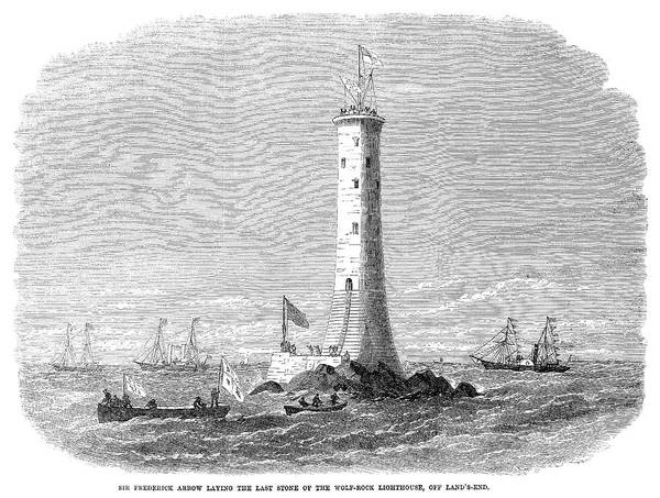 Wall Art - Painting - Cornwall Lighthouse, 1869 by Granger