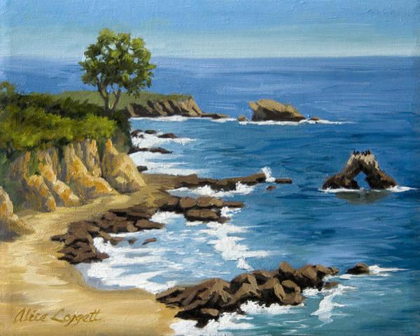 Bluffs Painting - Corona Del Mar California by Alice Leggett