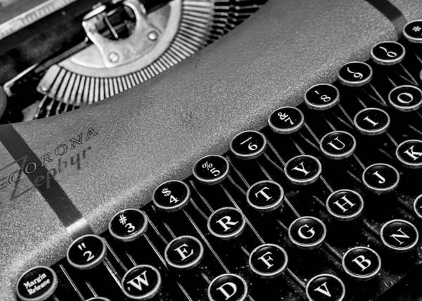 Keyboard Photograph - Corona Zephyr Typewriter by Jon Woodhams