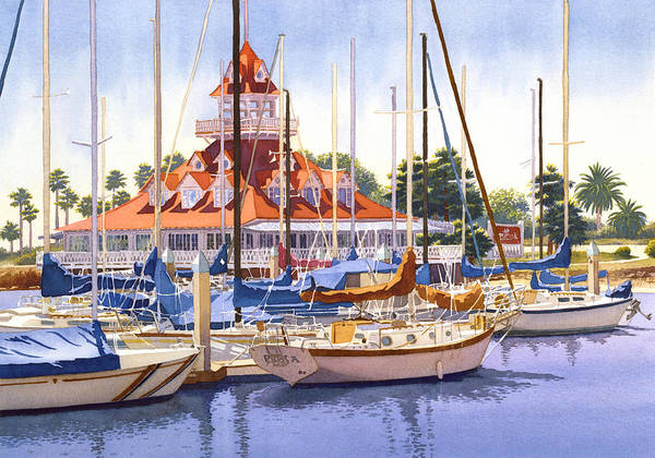 Yacht Wall Art - Painting - Coronado Boathouse by Mary Helmreich