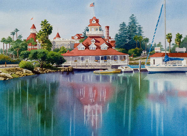 Pacific Wall Art - Painting - Coronado Boathouse Reflected by Mary Helmreich