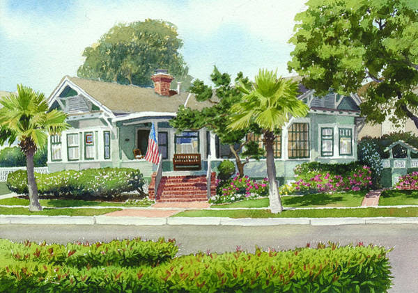 Commission Wall Art - Painting - Coronado Craftsman House by Mary Helmreich