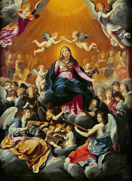 Putto Photograph - Coronation Of The Virgin Oil On Canvas by Guido Reni