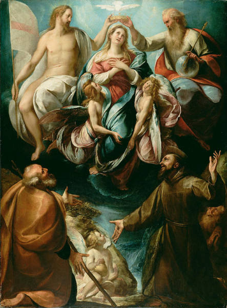 Cesare Painting - Coronation Of The Virgin With Saints Joseph And Francis Of Assisi by Giulio Cesare Procaccini
