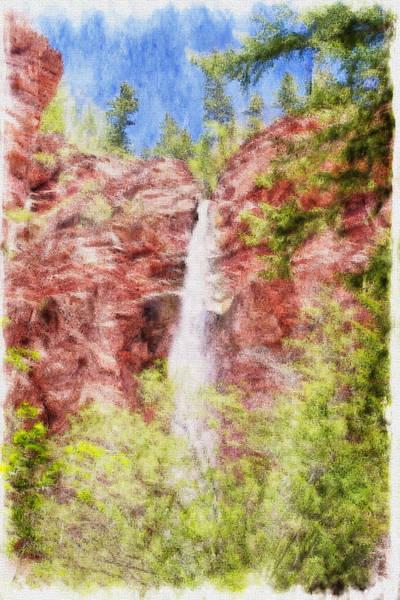 Digital Art - Coronet Creek Waterfalls  by Rick Wicker