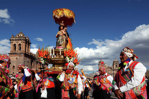 Photograph - Corpus Christi Procession In Cusco by James Brunker