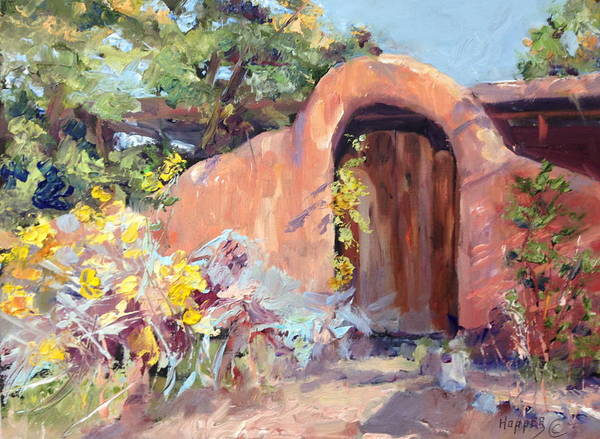 Desert Rose Painting - Corrales Adobe Wall And Gate Iv by Carol Hopper