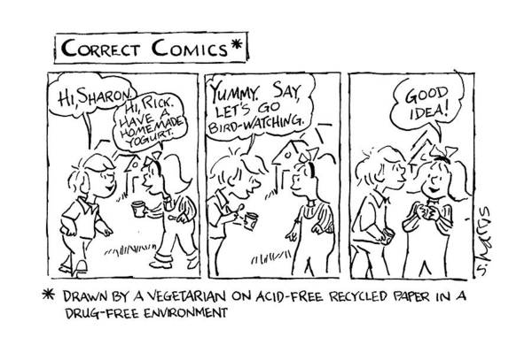 Recycle Drawing - Correct Comics* *drawn By A Vegetarian by Sidney Harris