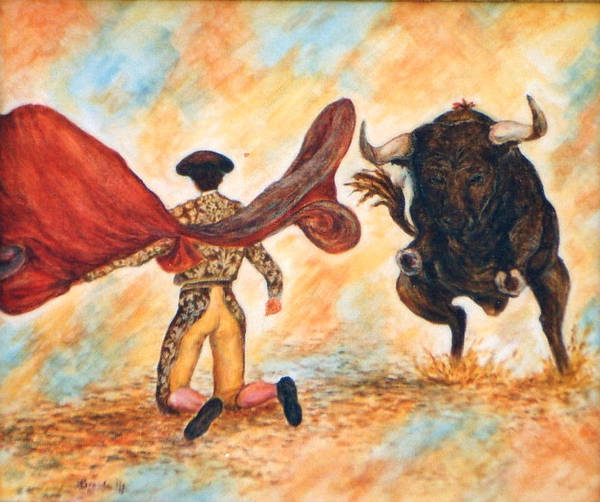 Torro Painting - Corrida 1 by Brenda Almeida-Schwaar
