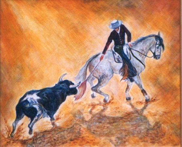 Torro Painting - Corrida De Rejon 1 by Brenda Almeida-Schwaar