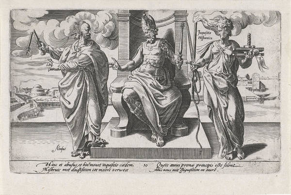 Influence Drawing - Corrupt Rulers And The Spanish Inquisition Commit Murder by Dirck Volckertsz Coornhert And Adriaan De Weerdt And Hendrick Hondius I