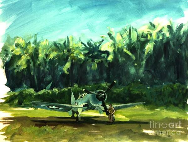 Corsair Painting - Corsair In Jungle by Stephen Roberson
