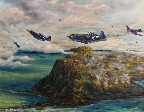 Corsair Painting - Corsair's Over Iwo Jima by Robert Wright