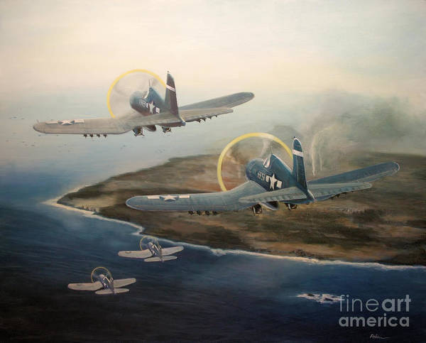 Marine Corps Painting - Corsairs Over Iwo by Stephen Roberson