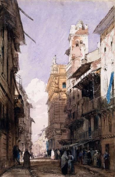 Balcony Drawing - Corso Saint Anastasia, Verona by Richard Parkes Bonington