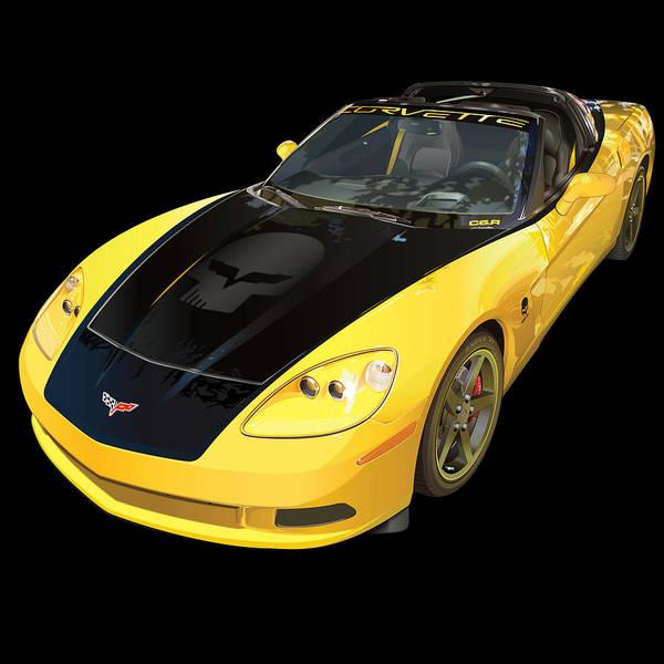 C6 Wall Art - Digital Art - corvette C6 on black by Alain Jamar