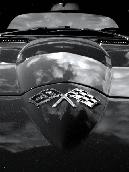 Checker Photograph - Corvette In Black And White by Bill Gallagher