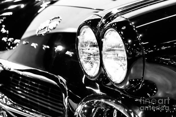 American Car Photograph - Corvette Picture - Black And White C1 First Generation by Paul Velgos