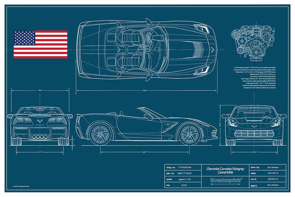 Collector Digital Art - Corvette Stingray Convertible Blueplanprint by Douglas Switzer