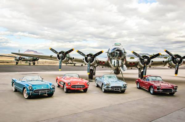 Bomber Photograph - Corvettes And B17 Bomber by Jill Reger
