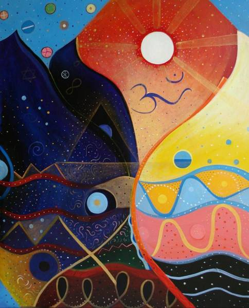 Painting - Cosmic Carnival Vlll Aka Sacred And Profane by Helena Tiainen
