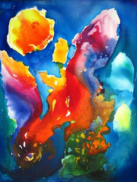 Orb Painting - Cosmic Fire Abstract  by Carlin Blahnik CarlinArtWatercolor
