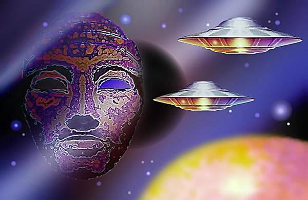 Mixed Media - Cosmic Light Ships by Hartmut Jager