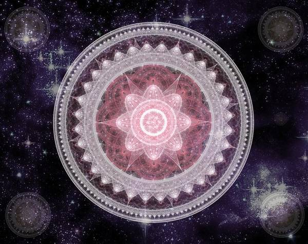 Digital Art - Cosmic Medallions Fire by Shawn Dall