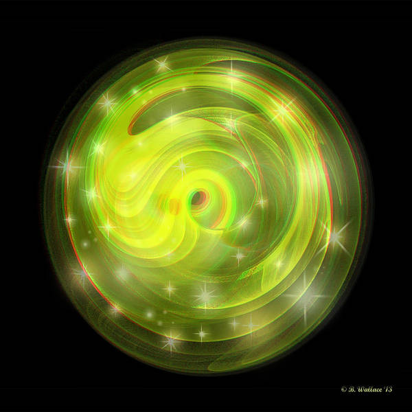 Stereoscopy Digital Art - Cosmic Swirl - Use Red-cyan Filtered 3d Glasses by Brian Wallace