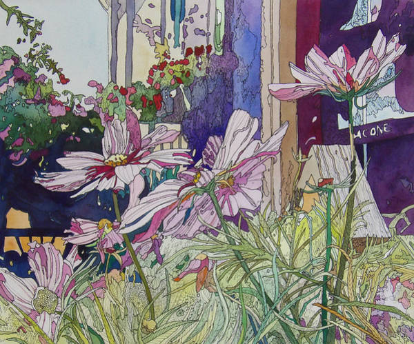 Mixed Media - Cosmos At The Coffee Shoppe by Terry Holliday