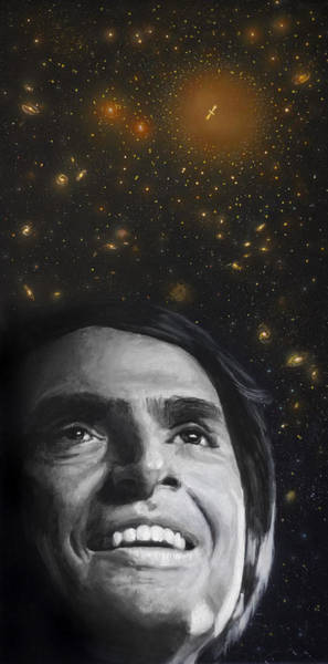 Skeptic Wall Art - Painting - Cosmos- Carl Sagan by Simon Kregar