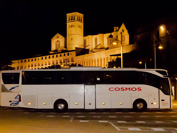 Photograph - Cosmos Tour Bus At Asisi Italy by David Coblitz