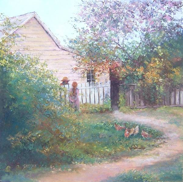 White Picket Fence Painting - Gossiping  by Jan Matson