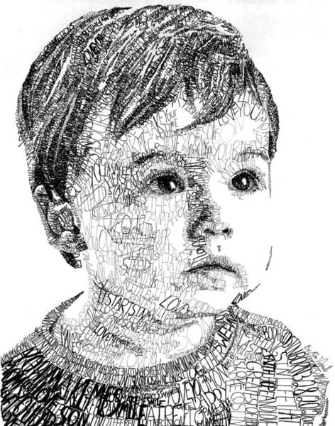 Ink Pen Drawing - Costin Boy by Michael Volpicelli