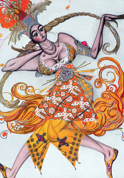 Exotic Drawing - Costume Design For A Pas De Deux Danced by Leon Bakst