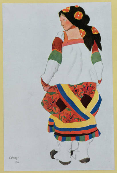 Dance Drawing - Costume Design For A Peasant Girl, 1922 by Leon Bakst