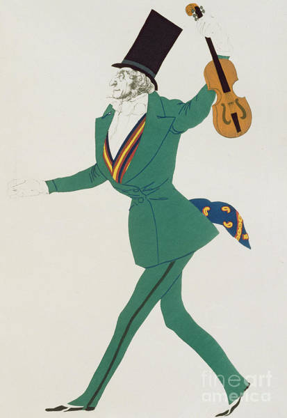 Professional Painting - Costume Design For Paganini In The Enchanted Night by Leon Bakst