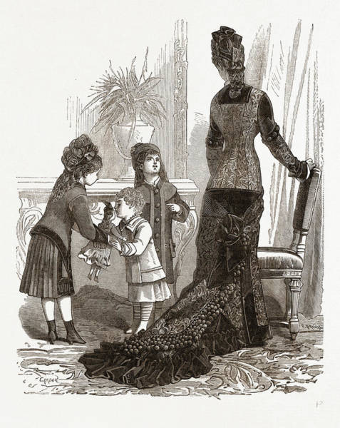 Wall Art - Drawing - Costumes For A Young Mother And Children by Litz Collection