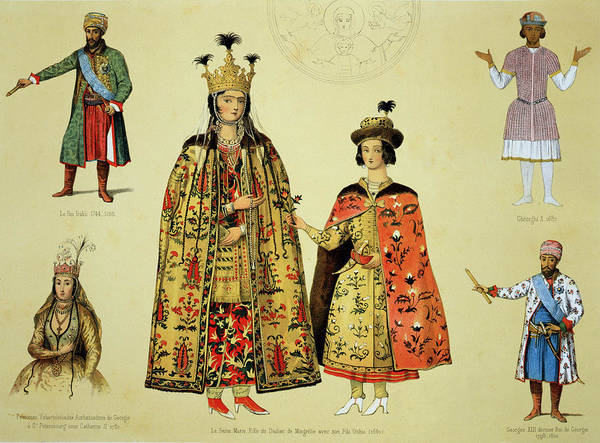 Georgian Drawing - Costumes Of The 17th And 18th by Grigori Grigorevich Gagarin