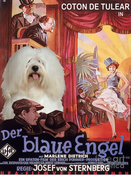 Engels Painting - Coton De Tulear Art - Der Blaue Engel Movie Poster by Sandra Sij