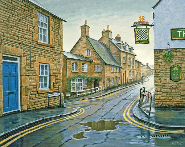 England Painting - Cotswold Village-rainy Day by Paul Krapf