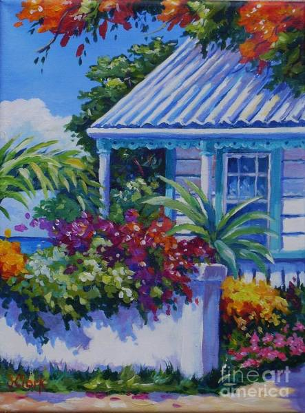 Bougainvillea Painting - Cottage And Bougainvillea by John Clark