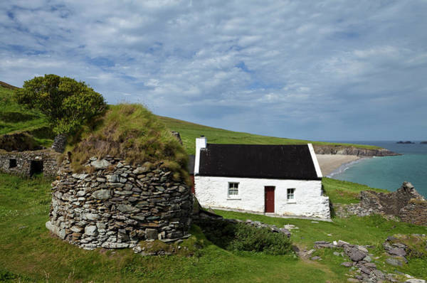 Dingle Peninsula Photograph - Cottage And Deserted Cottages On Great by Panoramic Images