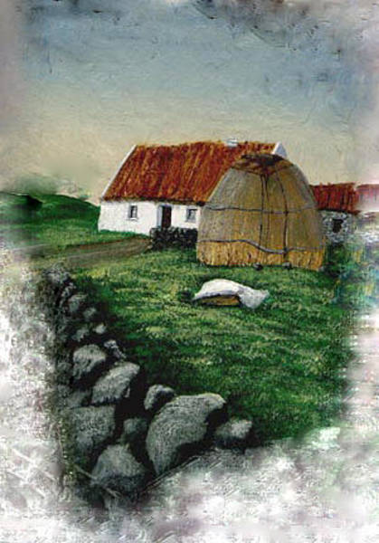Donegal Painting - Cottage And Haystack by Barbara McDevitt