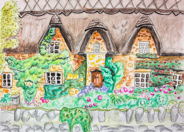 Blooming Tree Drawing - Cottage Front by Pati Photography