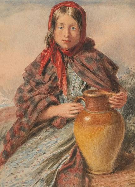 Hunt Wall Art - Painting - Cottage Girl Seated With A Pitcher by William Henry Hunt
